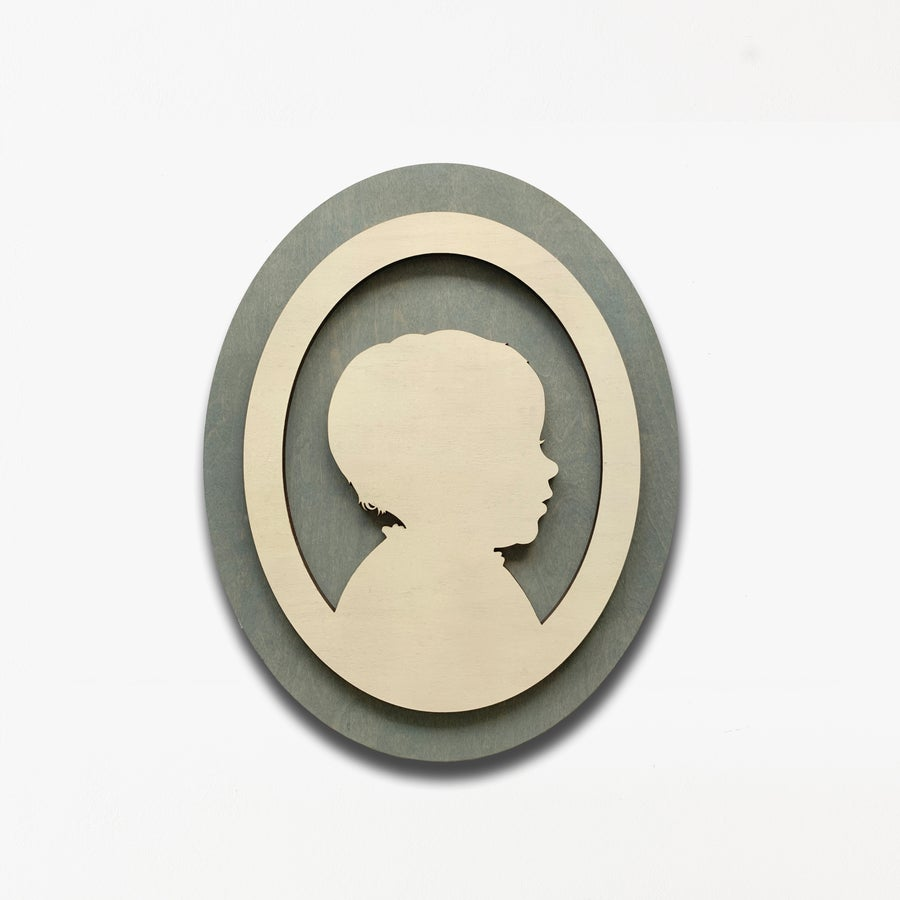 Image of Oval Silhouette Portrait Wooden Artwork