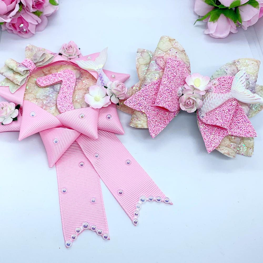 Image of Mermaid matching bow and birthday badge