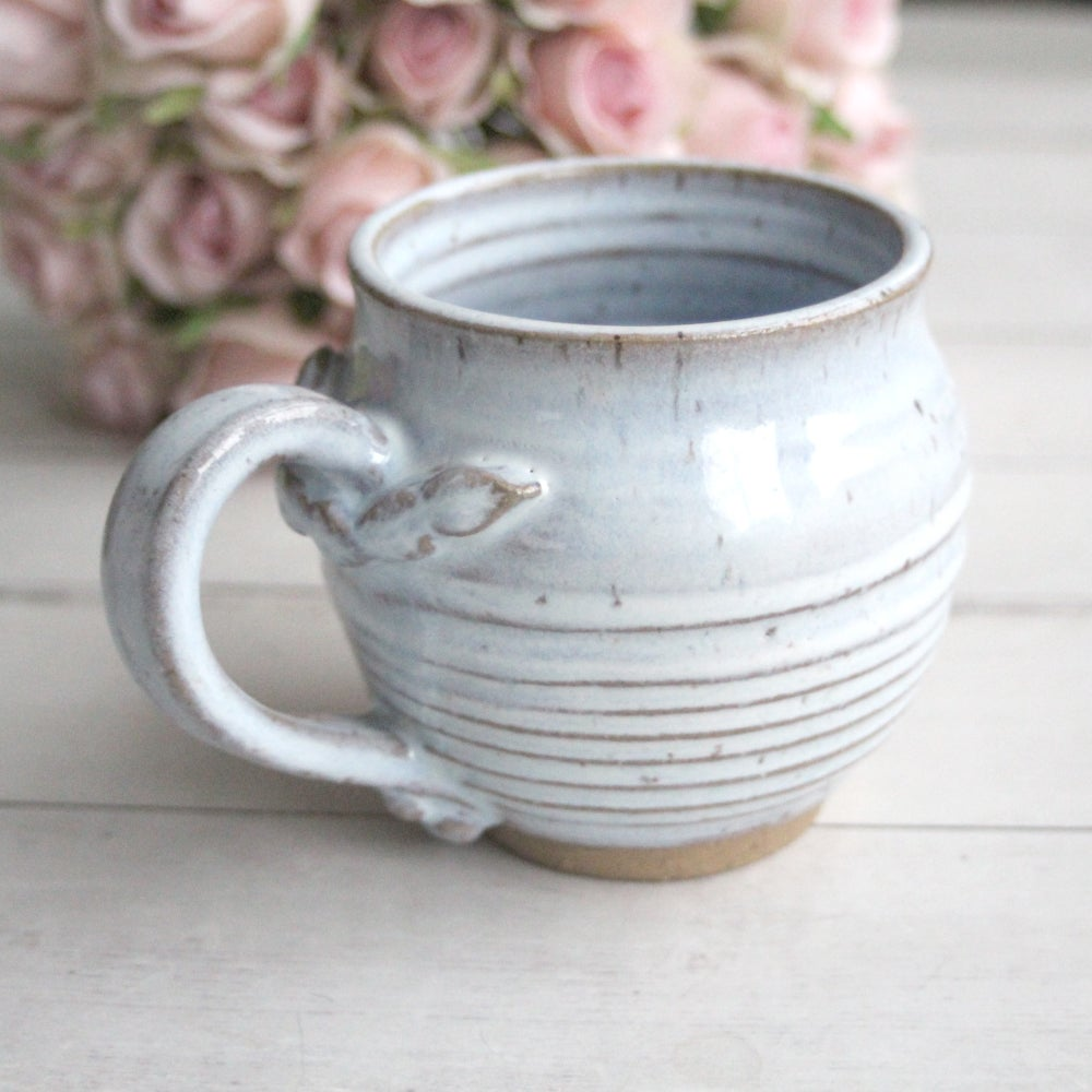 Image of Rustic Pottery Mug in Icy Blue White Glaze, 14 oz. Handcrafted Coffee Mug, Made in USA