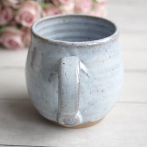 Image of Rustic Pottery Mug in Ice Blue White Glaze, 14 oz. Handcrafted Coffee Mug, Made in USA