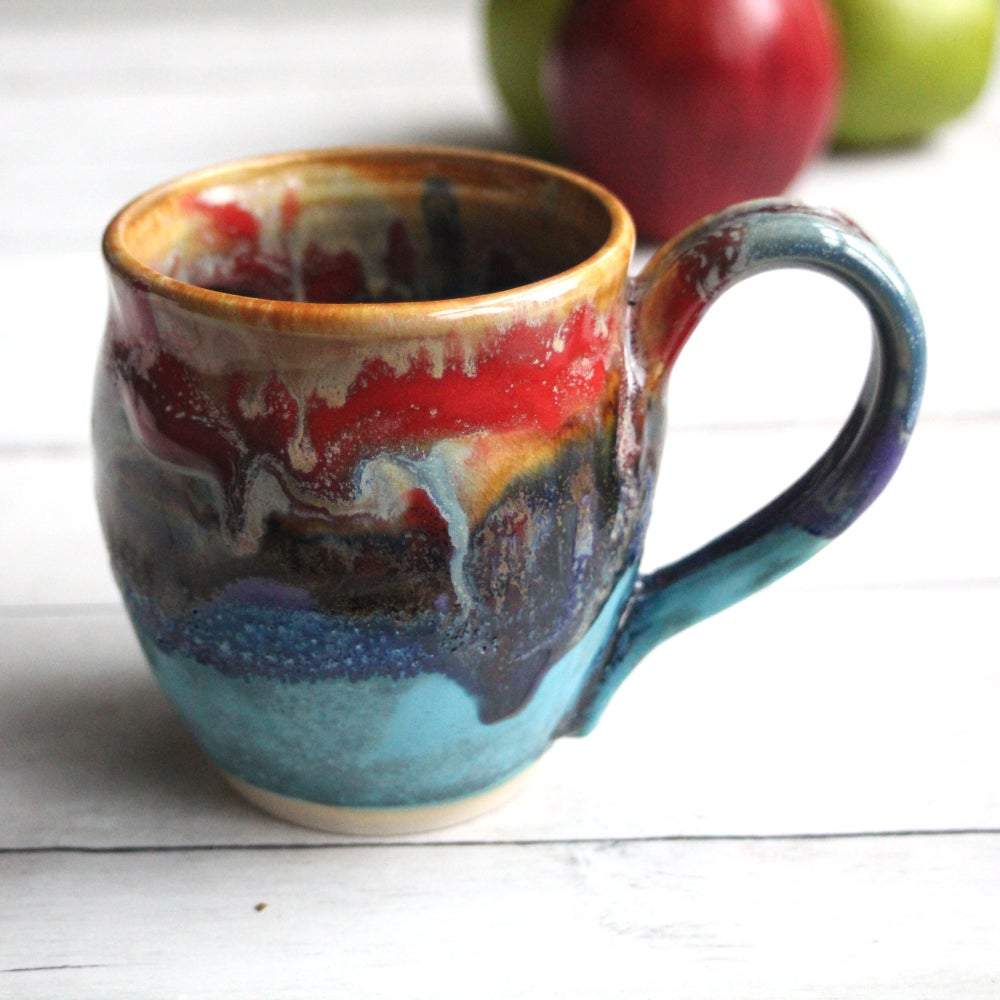 Image of Colorful Mug with Gorgeous Dripping Glazes, Handcrafted Art Pottery Coffee Cup Made in USA