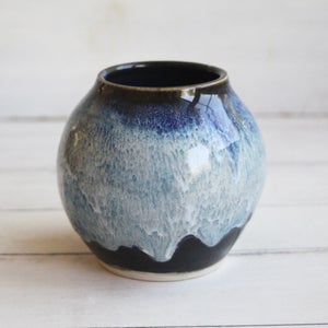 Image of Handmade Pottery Vase in Shades of Blue and Black Glazes, Ready to Ship, Made in USA