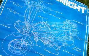 Image of Motocompo Blueprint Flag