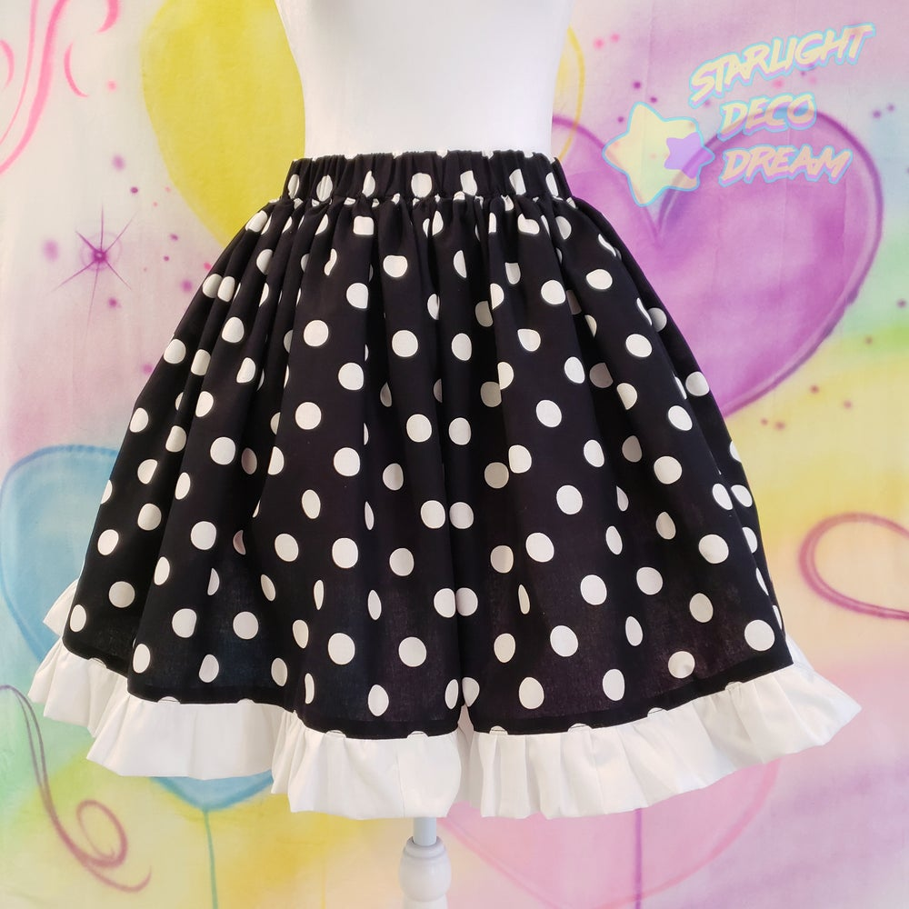 Image of Black and White Dream Dot Cotton Skirt with White Ruffled Trim