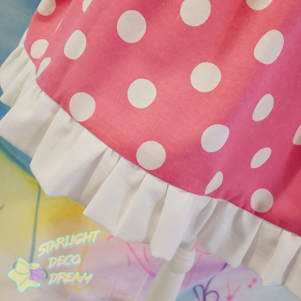 Image of Hot Pink Dream Dot Cotton Skirt with White Ruffled Trim