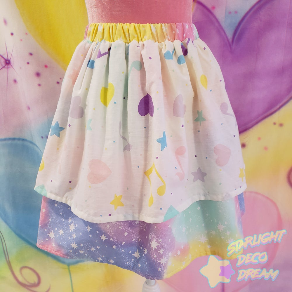 Image of Musical Magic Pop Galaxy Vintage Upcycled Skirt / SMALL