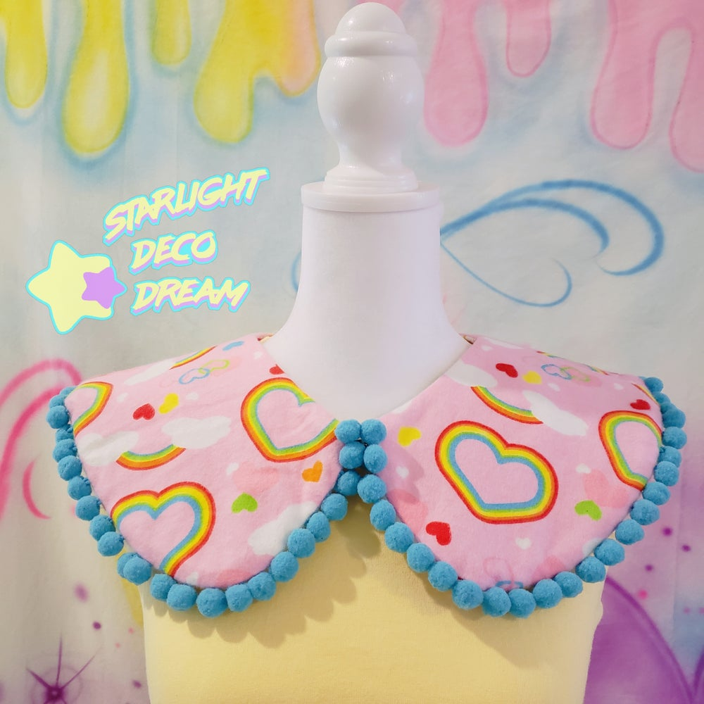 Image of Lovely Rainbow Pink and Blue Pom Pom Reversible and Detachable Collar