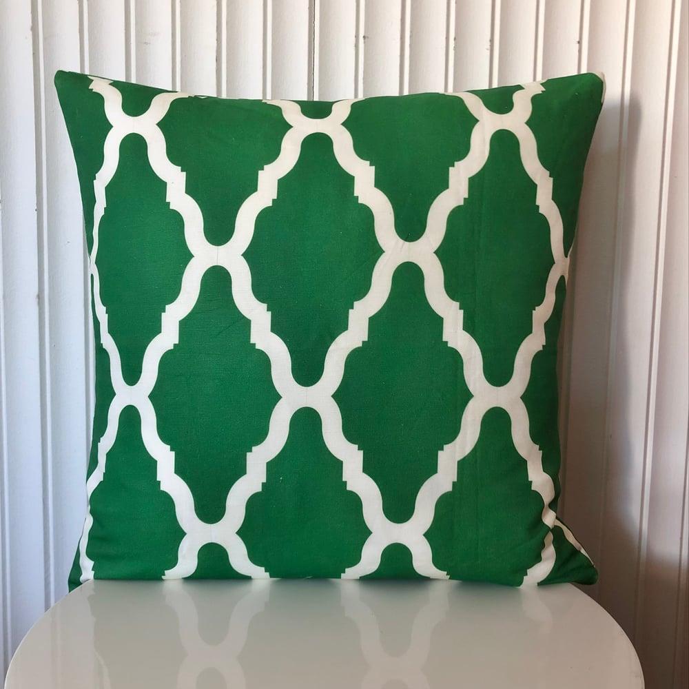 Image of Emerald Lattice Cushion Cover