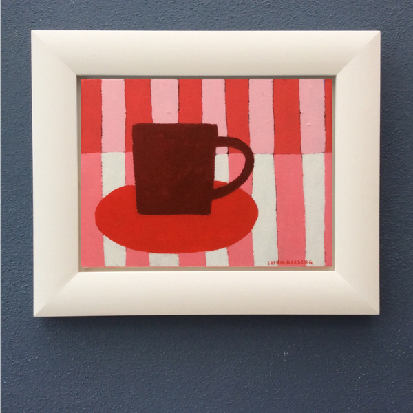 Image of Cup and Saucer on Pink Stripes