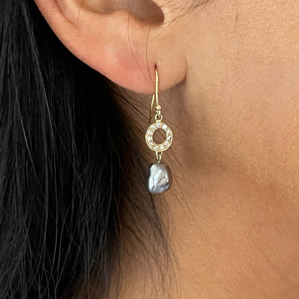 Image of Gray Baroque Pearl Earrings with Diamond Loops