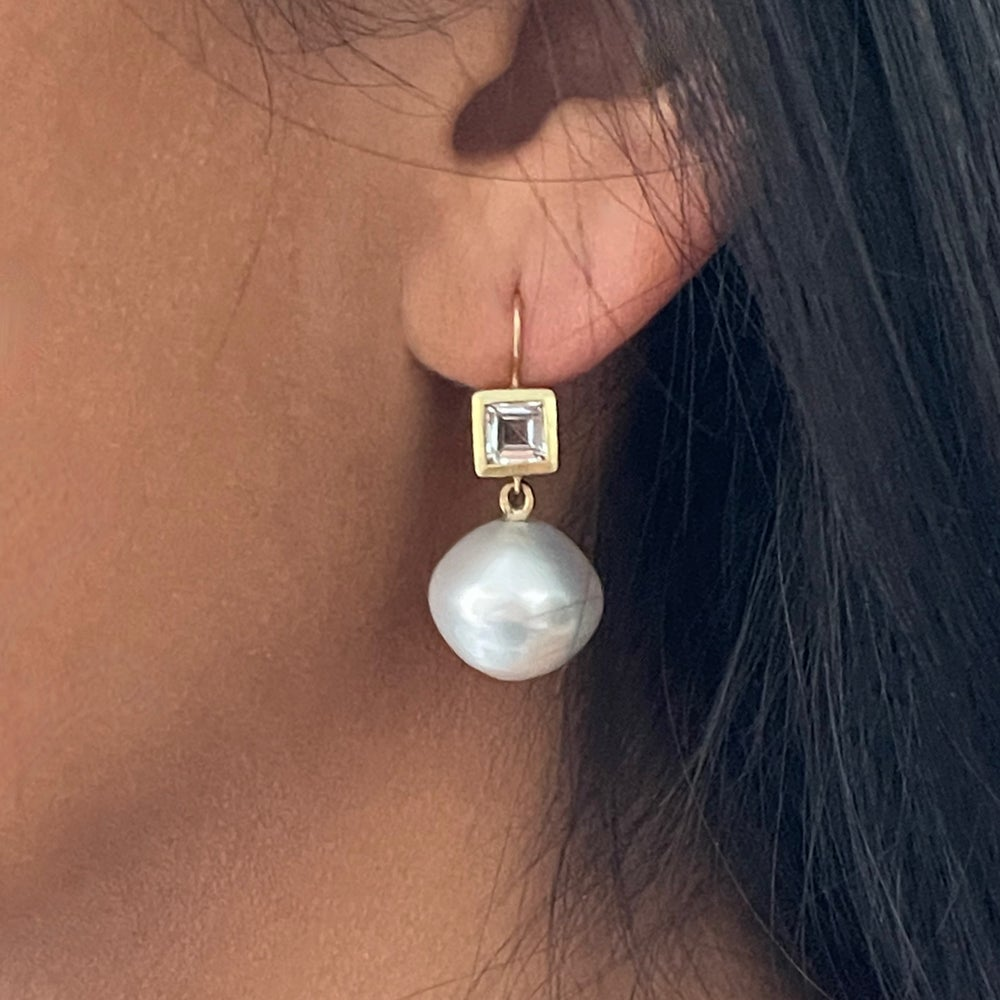 Image of BIG Baroque Pearl Earrings with White Sapphires set in 18K gold