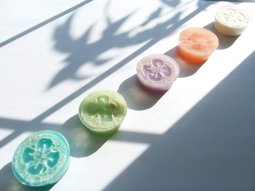 Image of Loofah Soap.  All natural Shea butter & Coconut Milk Soap. Glycerin Soap. Removes Dead Skin.
