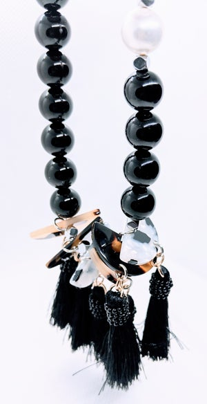 "Original ""Black Agate & Tassels Necklace Set""  Enter DISCOUNT CODE: STONES29 at check out!"