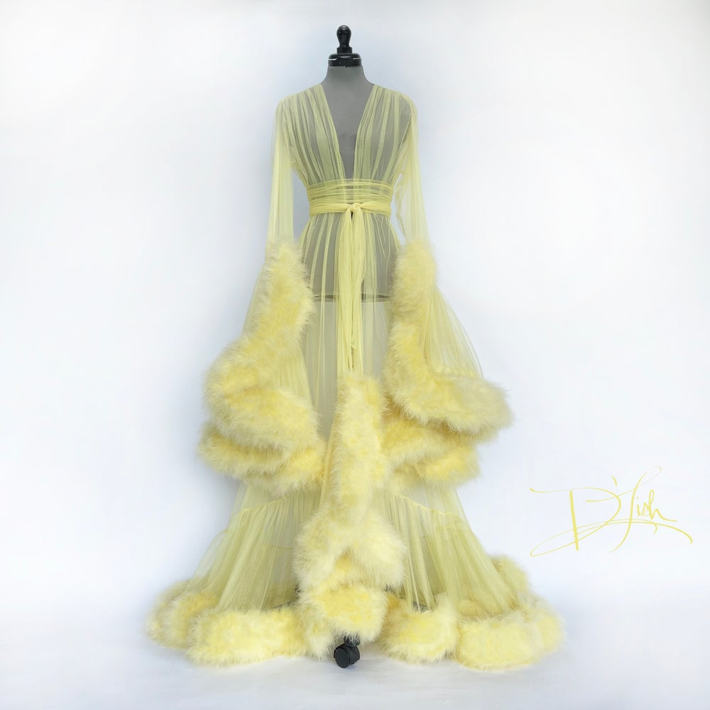 """Image of Buttery Yellow """"Cassandra"""" Dressing Gown"""