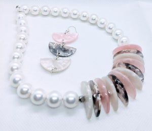 """Original """"White Coated Shells Necklace set"""" Enter DISCOUNT CODE: STONES29 at check out!"""