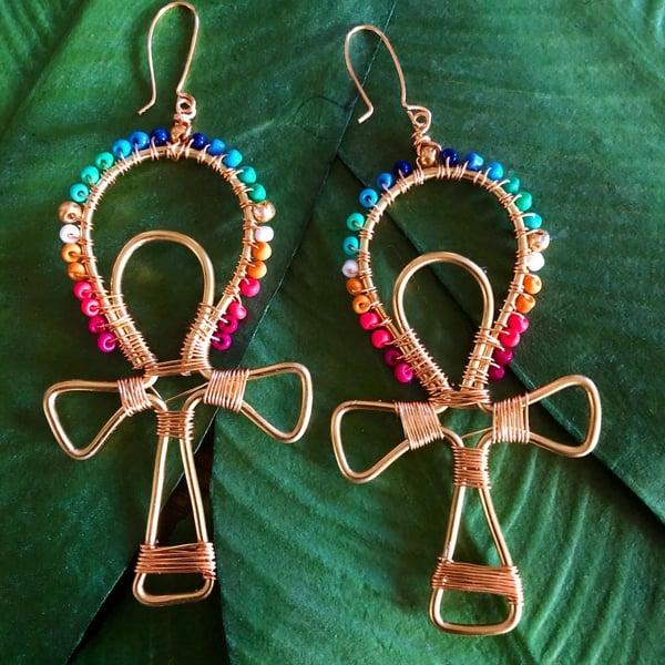 Image of Chakra Ankh Earrings