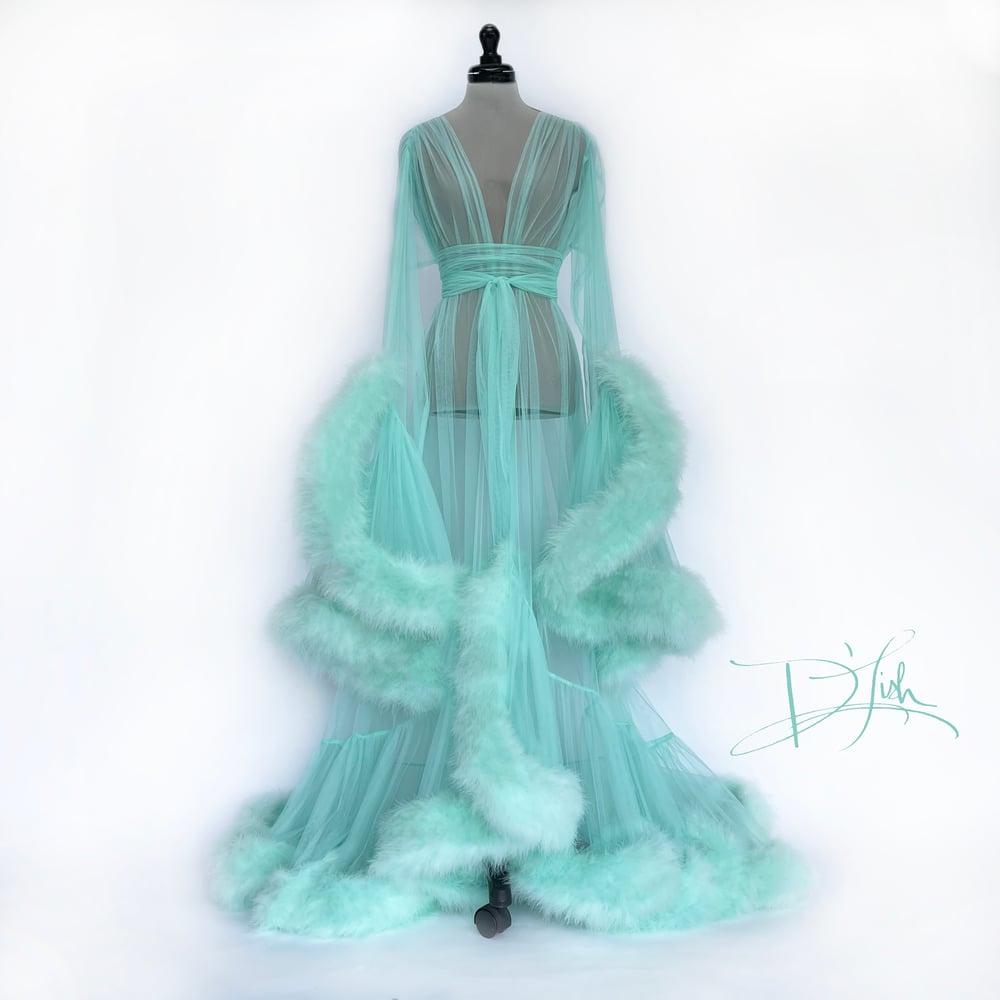 Image of Mint Sorbet Deluxe Cassandra Dressing Gown