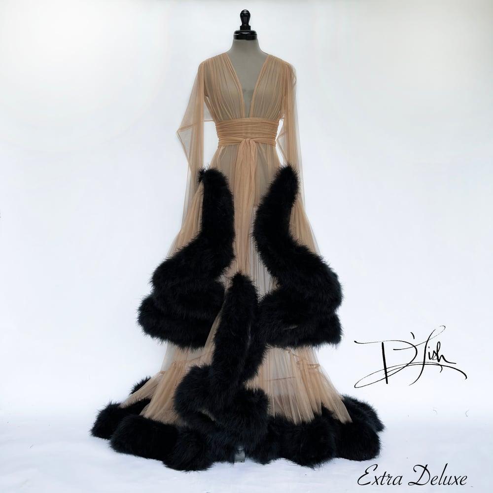 "Image of Black & Tan ""Cassandra"" Dressing Gown"