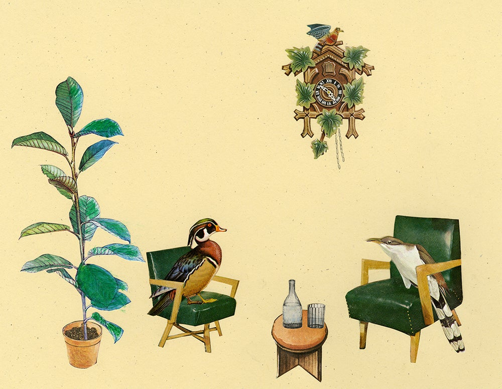 Image of No doubt, he was a cuckoo but Dr. Wood was out of his tree and a total quack. Collage print.