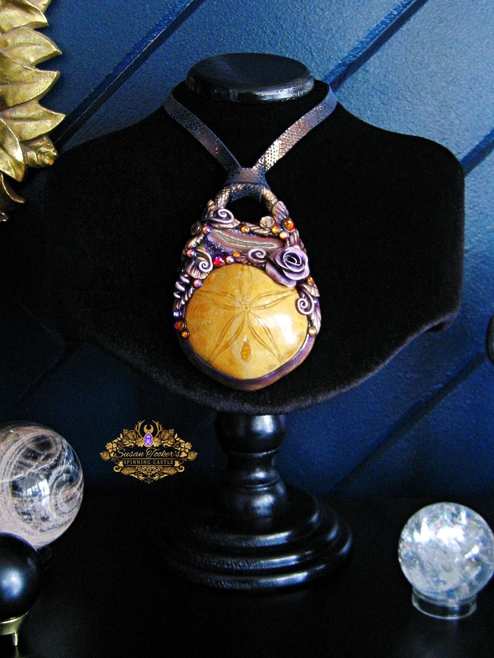 Image of SEA GODDESS - Sea Urchin Fossil Amethyst Geode Statement Amulet Necklace