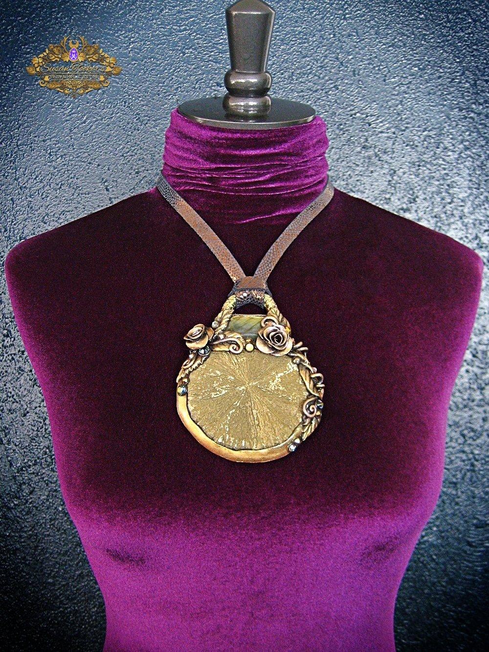 Image of SUNBURST FAERIE - Pyrite Sun Labradorite Statement Amulet Necklace