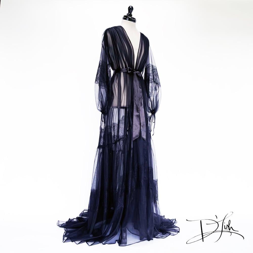"Image of ""Elisabeth"" Sheer Dressing Gown w/ Lace, Black"