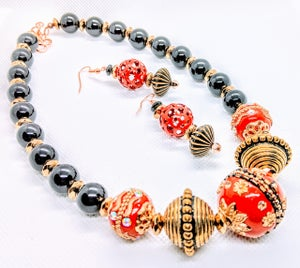 """Original """"Black Agate & Red/Gold Metal Balls"""" Enter DISCOUNT CODE: STONES29 at check out!"""