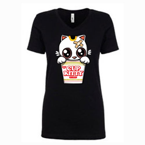 Image of Cup Kitty V Neck Womens Tee (for pick up only at From the Heart in Honolulu)