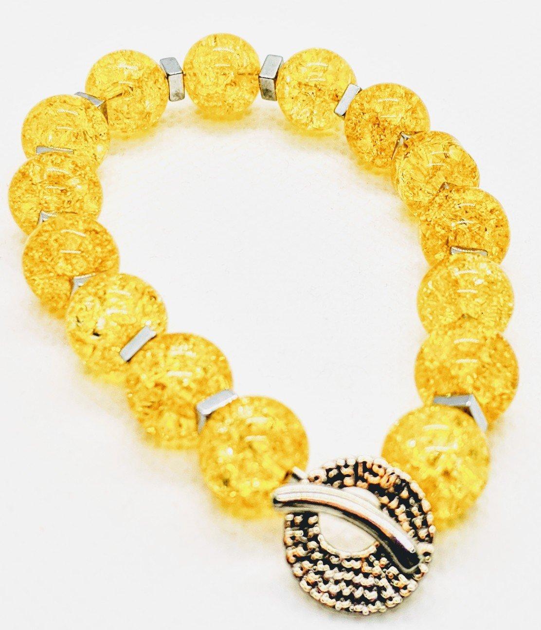 "Original ""Yellow Quartz Crackle Stretch Bracelet""  Enter DISCOUNT CODE: STONES29 at check out!"