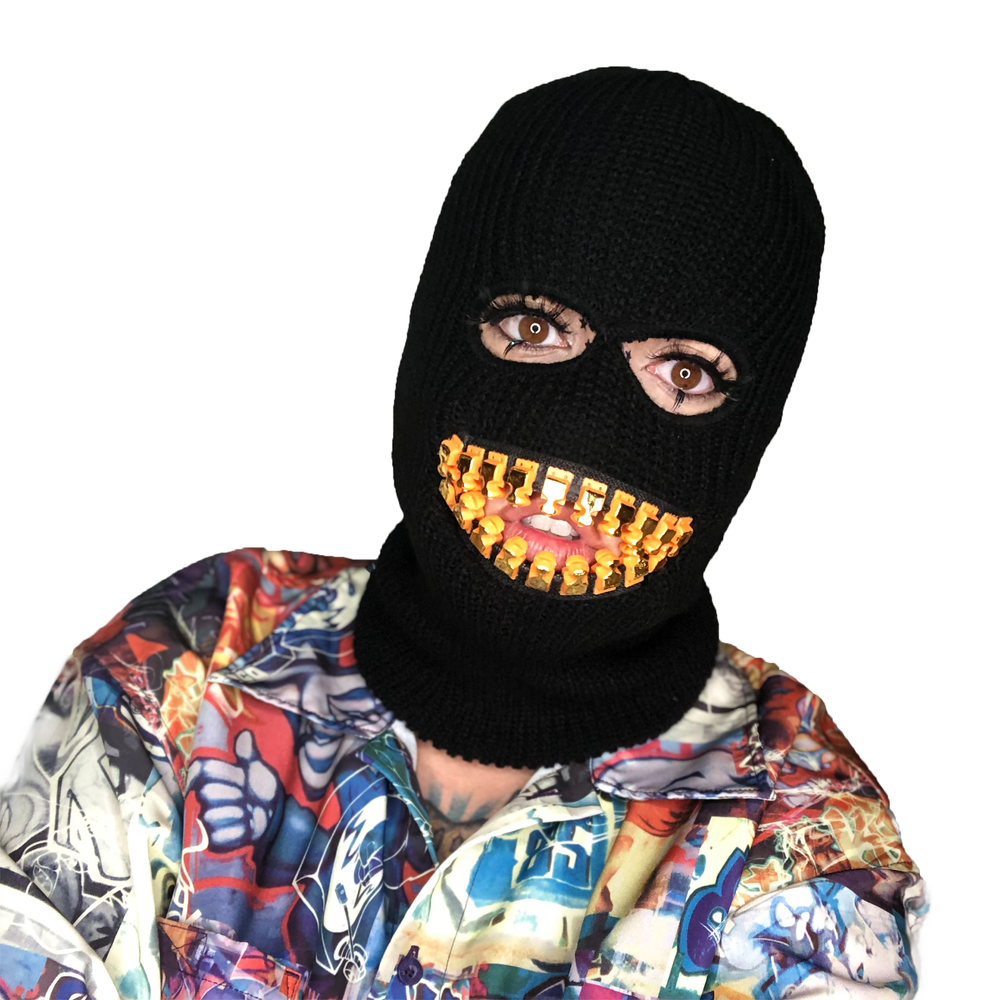 Image of ZEF2DEATH black ski mask with gold teeth zipper mouth zefstyle grill teeth mask
