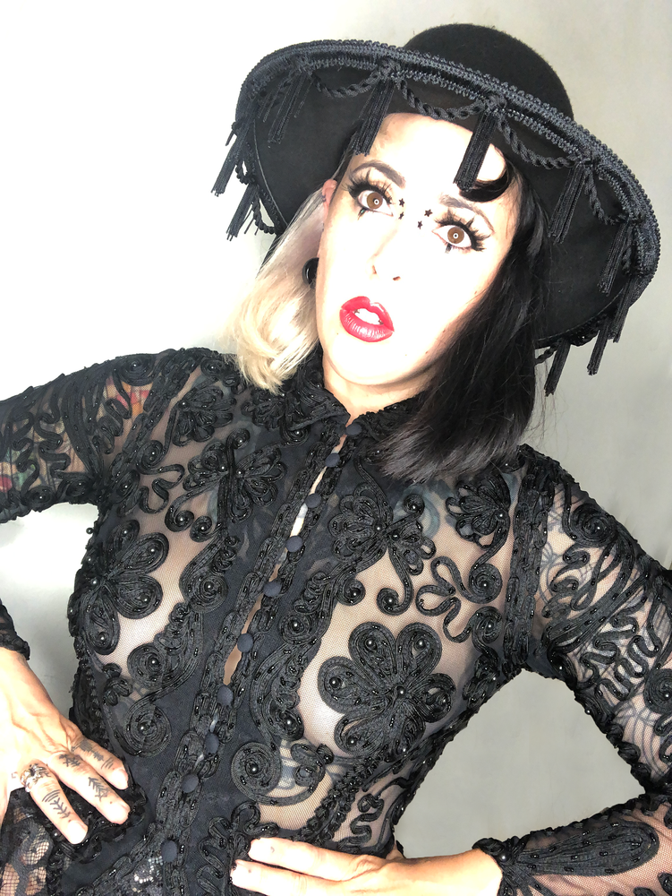 Image of Wide brim hat with rope and tassle fringe witchy gothic fancy embellished burlesque sunhat