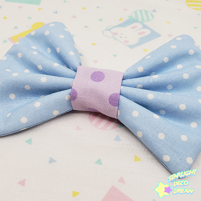 Image of Lavender and County Dot Cotton Hair Bow Alligator Hair Clip