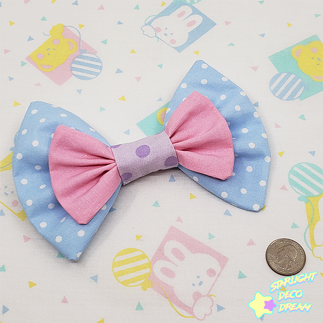 Image of Double-Layer Sparkle Pink + Light Blue Country Cotton Hair Bow Alligator Hair Clip / Style B