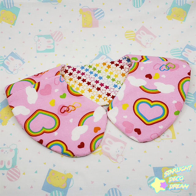 Image of Lovely Rainbow Pink and Stars Reversible Detachable Collar / A