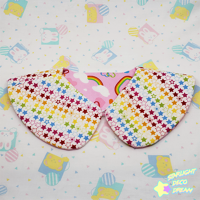 Image of REVERSIBLE Lovely Rainbow Pink and Stars Detachable Collar / A