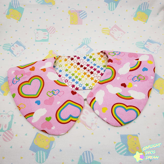 Image of Lovely Rainbow Pink and Stars Reversible Detachable Collar / C