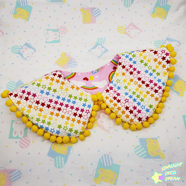Image of Lovely Rainbow Pink and Yellow Pom Pom Reversible and Detachable Collar