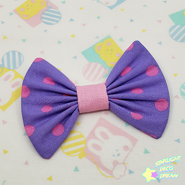 Image of Fancy Glittering Pink and Purple Polka-dot Vintage Cotton Hair Bow Alligator Hair Clip