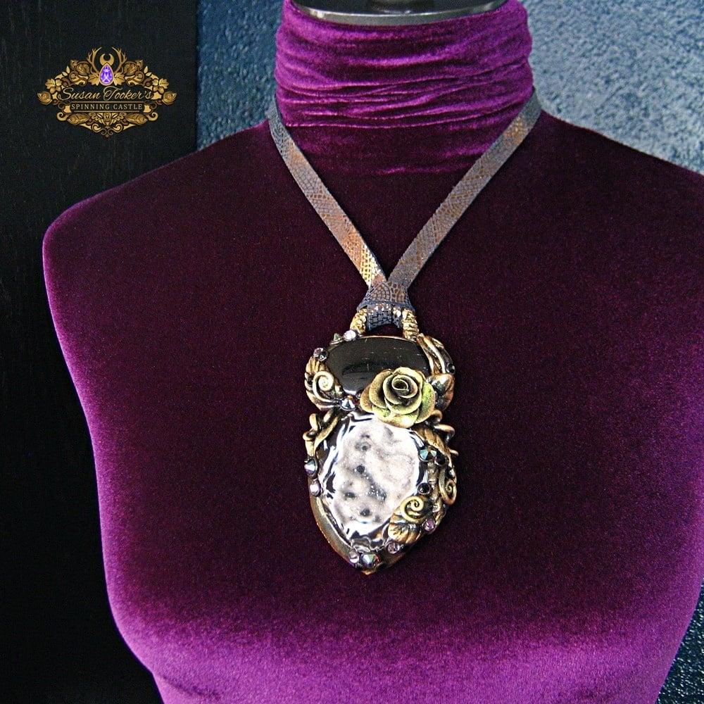 Image of DARK FAE - Druzy Quartz Crystal Green Tourmaline Statement Amulet Necklace Witch Aesthetic