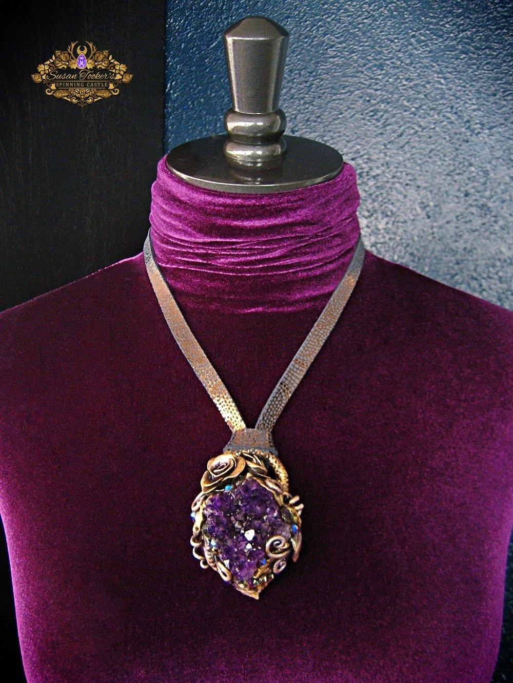 Image of VIOLET VALENTINE - Amethyst Quartz Cluster Statement Amulet Necklace Witch Aesthetic