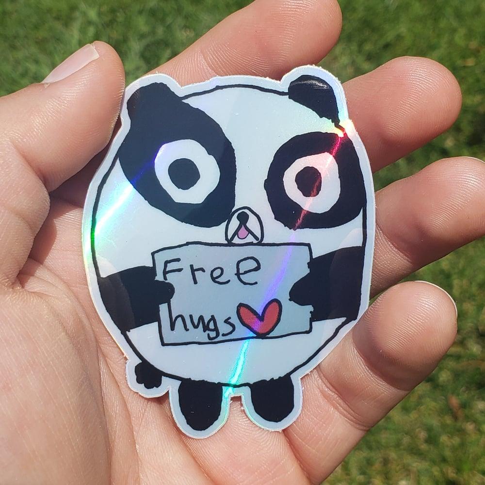 "Free Hugs Panda Holographic 3"" Sticker"