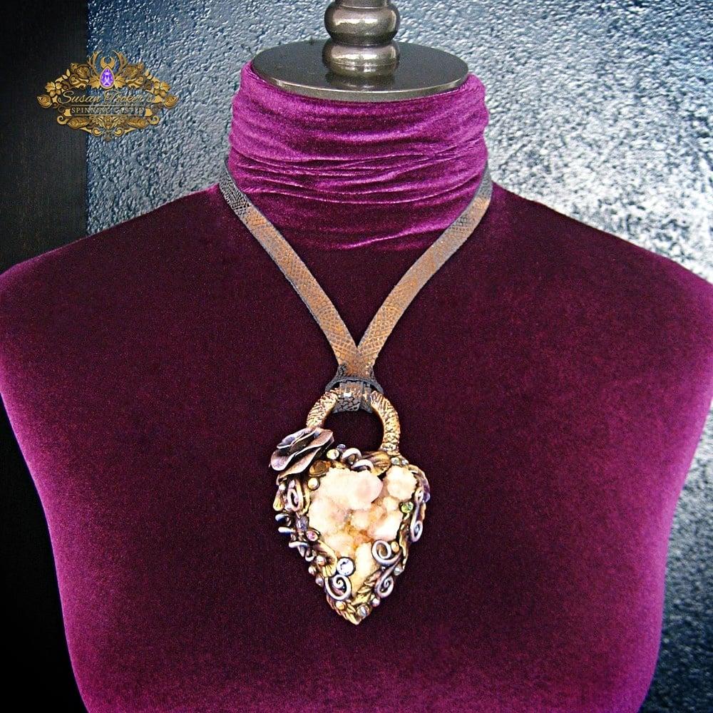 Image of FAERIE DUST - Amethyst Spirit Quartz Cluster Statement Amulet Necklace Witch Aesthetic