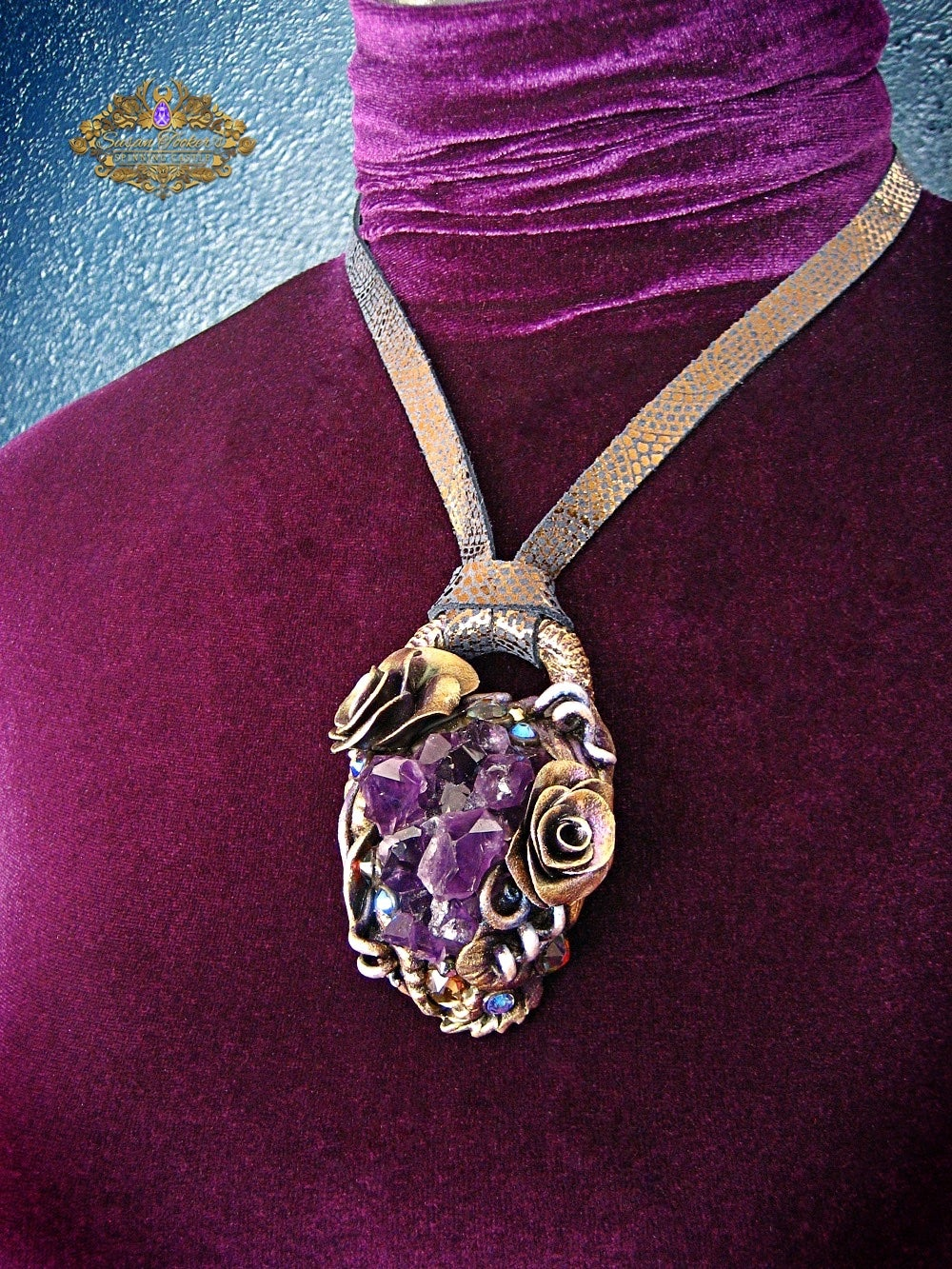 Image of ELVEN TREASURE - Amethyst Quartz Crystal Cluster Statement Amulet Necklace Witch Aesthetic