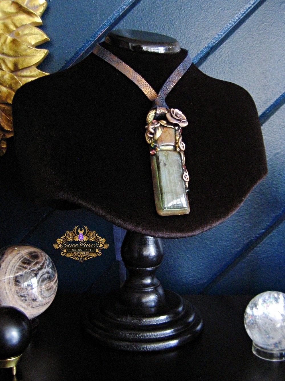 Image of DREAMER STONE - Labradorite Statement Amulet Necklace Witch Aesthetic