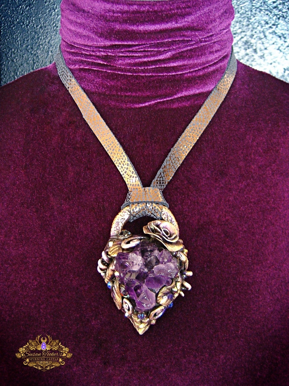 Image of PURPLE PIXIE - Amethyst Quartz Cluster Statement Amulet Necklace Witch Aesthetic