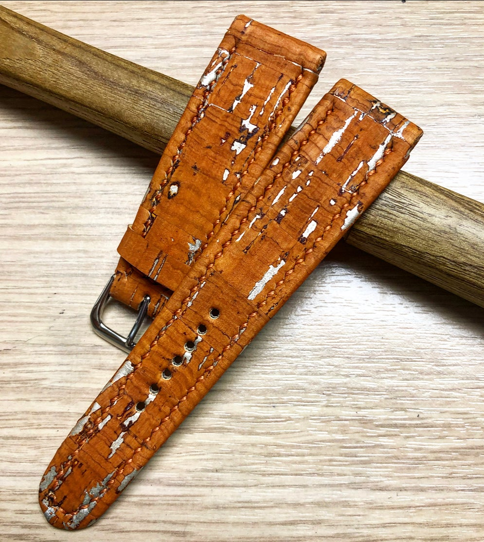 Image of Orange and silver Cork FFV hand-rolled watch strap - waterproof.