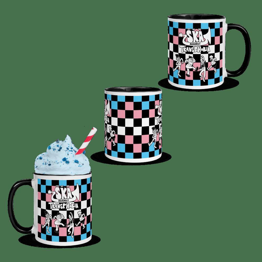 Image of PRIDE 2021 | SKA AGAINST TRANSPHOBIA | Trans Flag Checkered Mugs