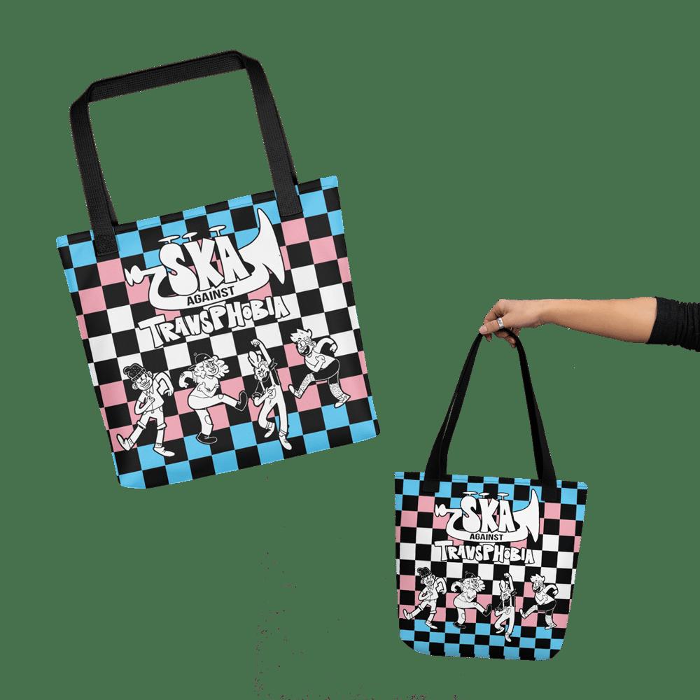 Image of PRIDE 2021 | SKA AGAINST TRANSPHOBIA | Trans Flag Checker Tote Bag