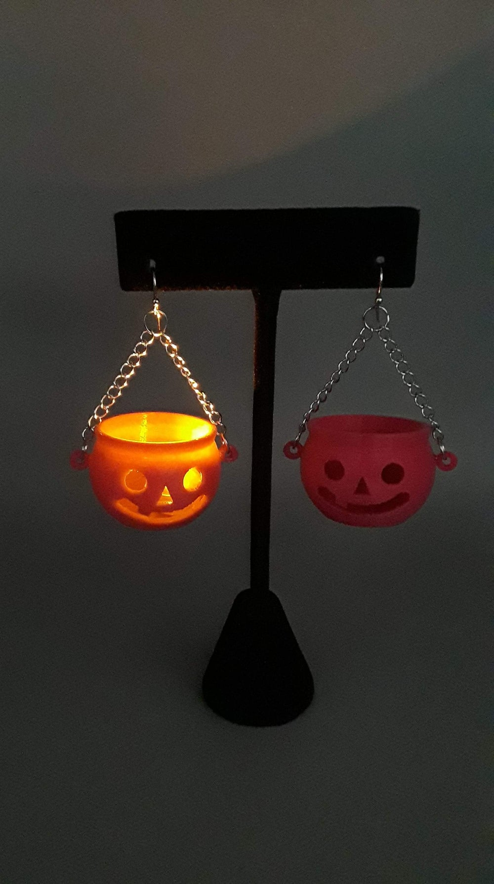 Pink Jack-O-Lantern Earrings