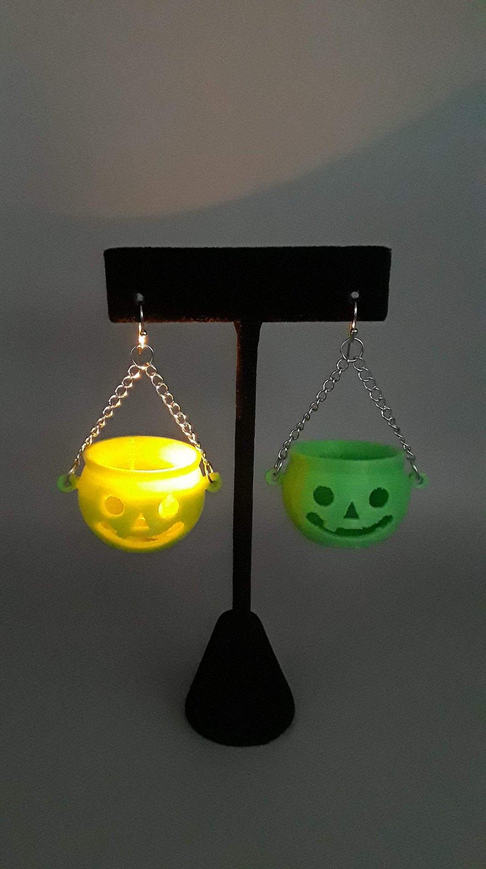 Sour Apple Green Jack-O-Lantern Earrings